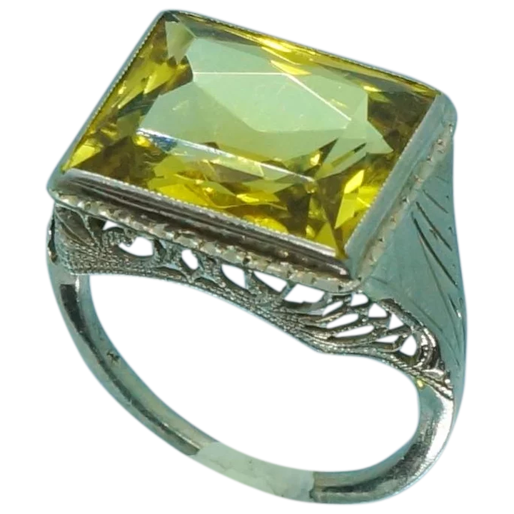 c8a017a29497 Art Deco 14K White Gold Yellow Glass Filigree Ring Sz 4   Golden Rings