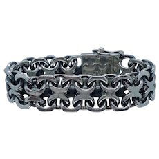 Heavy 125 Gram Chunky Mexican Sterling Silver Bracelet Huge Mexico