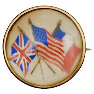 14K WW1 UK USA France Painted Cloth Glass Pin Brooch Patriotic Victory United Kingdom Allied Lapel