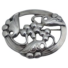 Coro Sterling Norseland Vintage Berry Leaf Floral Pin Brooch Deco Retro