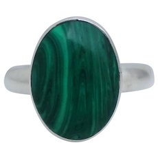Vintage Green Oval Malachite Sterling Cabachon Ring Sz 10