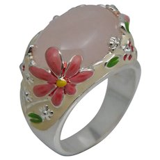 Sterling Silver Pink Quartz Painted Enamel Floral Flower Ring Sz 10 Canada