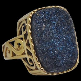 LARGE Sterling Silver Gold Vermeil Blue Druzy Filigree Ring Druzy Quartz 12.25