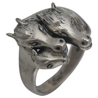 Vintage Sterling Silver 3 Horse Ring Family Sire Mare Foal