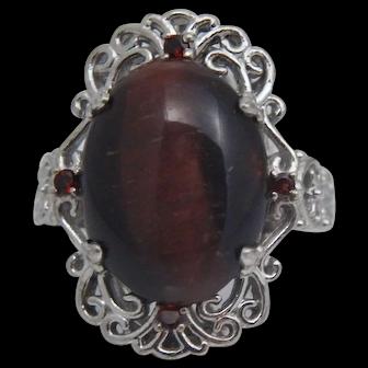Sterling Silver Red Chrysoberyl Garnet Filigree Ring Sz 9