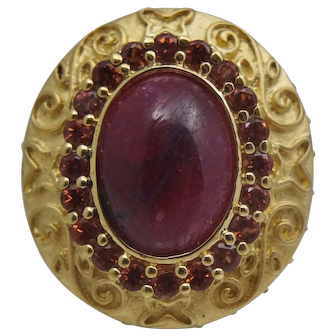 Sterling Silver Gold Vermeil Gilt Ruby Ring Cabochon
