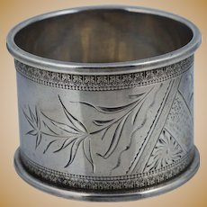 Aesthetic Victorian Coin Silver American Napkin Ring Sterling