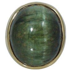 25.75 ct Green Cat's Eye Chrysoberyl 14K Yellow Gold Ring Cats Vintage Retro