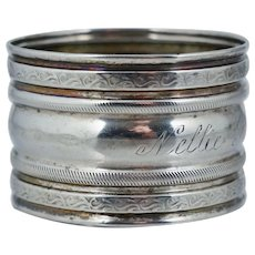 "Named ""Nellie Purdon"" Antique Sterling Silver Napkin Ring"