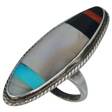 Native American Sterling Silver Blue Turquoise Mother Pearl Red Coral Onyx Ring