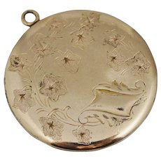 Large Oversized Art Nouveau 14K GF Gold Filled Locket Pendant for Necklace