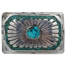 Native American Navajo Style Sterling Silver Blue Turquoise Belt Buckle Vintage