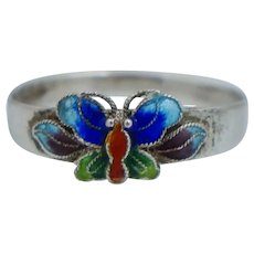Chinese Export Sterling Silver Enamel Butterfly Ring Vintage
