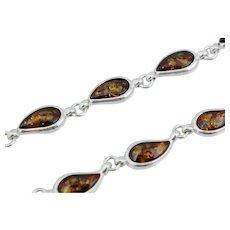 Vintage Sterling Silver Teardrop Amber Necklace Tear Drop Signed