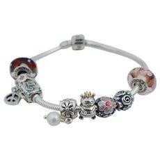 Vintage Pandora Sterling Silver Charm Bracelet 14K Queen Bee Peace Pearl Travel