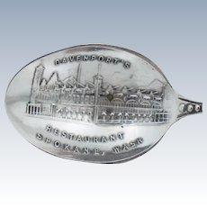 Davenport's Restaurant Spokane Washington Sterling Silver Souvenir Spoon Davenport Vintage