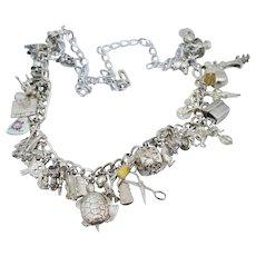 HEAVY Sterling Silver Charm Necklace Enamel Puffy Heart Vintage Bracelet