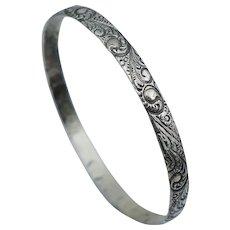 Vintage Danecraft Sterling Silver Floral Repousse Bangle Bracelet Retro
