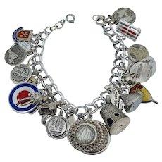 24 Charm Sterling Silver Vintage Charm Bracelet Enamel Disney Travel Mexico George Jensen