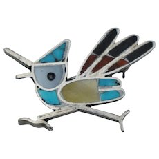 Vintage Native American Sterling Silver Road Runner Pin Turquoise Coral Mother Pearl