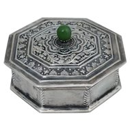 Antique Chinese Export Sterling Silver Green Nephrite Jade Jewelry Trinket Box Christmas 1925