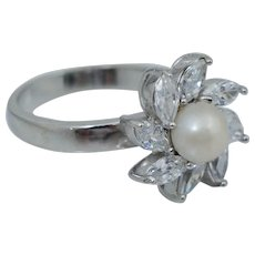 Vintage Sterling Silver White Cultured Pearl Marquise CZ Ring