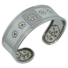 Vintage Sterling Silver Floral Flower Cuff Bangle Bracelet