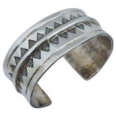 HEAVY Native American Sterling Silver Cuff Bangle Bracelet