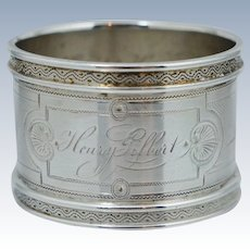 Quality American Coin Silver Napkin Ring 50th Birthday Victorian Sterling