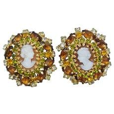 Vintage Hobe Gold Cameo Brown White Rhinestone Clip Earrings Costume