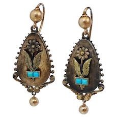 Victorian 14K Yellow Gold Blue Turquoise Dangle Earrings Green Floral Flower Antique