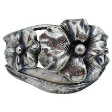 Retro Sterling Silver Floral Pansy Flower Cuff Bangle Bracelet Vintage