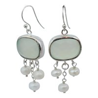 Vintage Sterling Silver Milky Green Faceted Quartz Pearl Dangle Earrings
