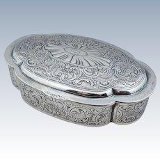 IMMENSE 800 Sterling Silver Dresser Trinket Jewelry Box German Vintage Large Repousse Floral Flower