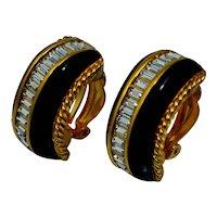 Swarvoski Crystal Black Enamel Clip Earrings Vintage Heavy Half Hoop Gold