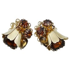 Outstanding Citrine Brown Rhinestone Floral Clip Earrings Vintage Retro Gold Tone