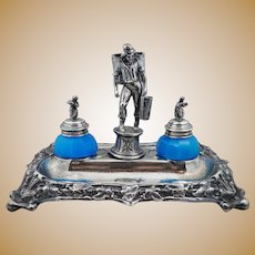 Spanish 900 Coin Silver Figural Inkwell Public Notary of Seville Antique Floral Vintage Sterling Art Nouveau