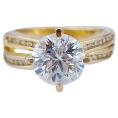 Vintage Sterling Silver Gold Vermeil Gilt White CZ Travel Engagement Ring Sz 6.25
