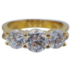 Vintage Sterling Silver Past Present Future Gold Vermeil Gilt Travel Engagement Ring
