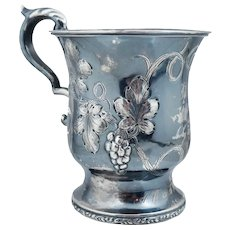 Dated 1852 American Coin Silver Handled Cup Early Sterling Grapevines Grape
