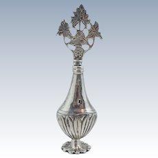 Vintage Egyptian 900 Coin Silver Perfume Vial Bottle Vase  Floral Sterling Egypt