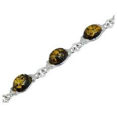 Vintage Sterling Silver Cabochon Amber Bracelet