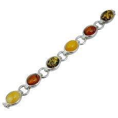 Vintage Sterling Silver Multi Color Amber Bracelet