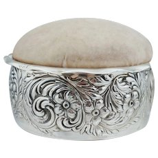 HUGE Shreve & Co Sterling Silver Pin Cushion Floral Repousee Antique Art Nouveau Victorian Vintage Flower