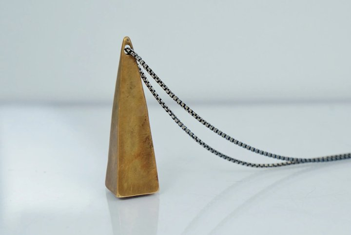 Simple Sterling Silver and Copper Pyramid Pendant Necklace Vintage Elegant