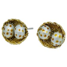 Incredible Sterling Bird Nest and Enamel Eggs Gold Vermeil Stud Earrings Vintage Silver