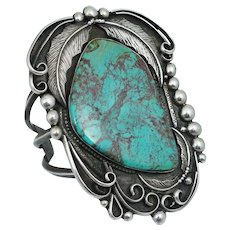 MASSIVE Navajo Sterling Silver Blue Turquoise Cuff Bangle Bracelet Vintage Dead Pawn Native American