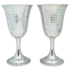 Sterling Romeo & Juliet Wedding Chalice Goblet Shakespeare Vintage Wedding Cup Silver Whitman