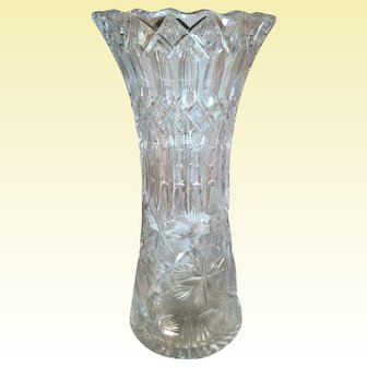 Large Cut Glass Vase Signed Frye
