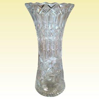 Large Cut Glass Vase Signed Frye